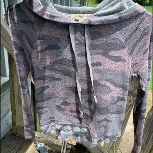 Pink, blue, gray lace hemmed camouflage hoodie